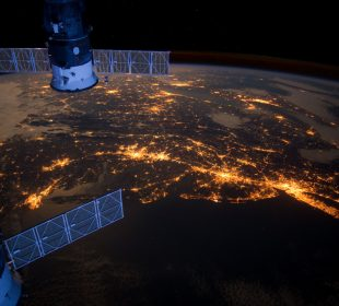 satellite image of earth in the night