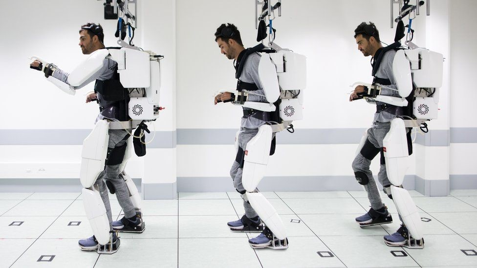 When he thinks walk it begins a chain of movements in the robotic suit that move his legs frontward